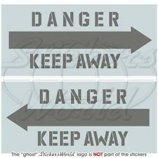 "DANGER KEEP AWAY LowVis Aircraft-Helicopter Stickers Decals x2 100mm (4"")"