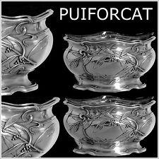 PUIFORCAT Top French Sterling Silver Vermeil Salt Cellars Pair Art Nouveau