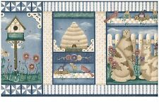 COUNTRY BIRDHOUSES,BEE HIVES LITTLE BIRDS CATS BY PICKET FENCE  WALLPAPER BORDER