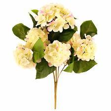 """Artificial silk cream Hydrangea bush with pink tips approximately 16"""""""
