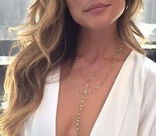 ON TREND GOLD TONE TWISTED LARIAT CLEAVAGE CHAIN NECKLACE - UK SELLER