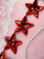 "Star Trim Red Sequin Beaded Iron On 2"" Banding Stars Hot Fix DIY (XR360-rd)"