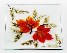 Autumn Leaf Glass Tray Plate Yankee Candle NEW fall harvest orange brown maple