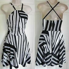 BEBE LOGO WHITE BLACK STRIPED ANNA CRISS CROSS BACK DRESS NEW NWT XSMALL XS