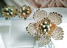 Vintage Marvella Brooch Earrings Set Faux Wired Pearl Filigree Floral 3D Layered