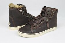 UGG AUSTRALIA BLANEY CRYSTAL BROWN LEATHER CASUAL ANKLE SNEAKER SIZE 8 US