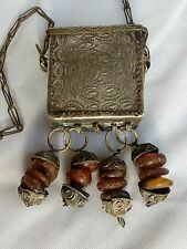 Superb antique Berber silver Quran box with amber beads prayer box Koran