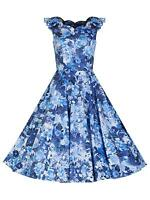 Retro 1950s Scalloped Neck Blue Vintage Floral Print Full Circle Tea Dress 8-18