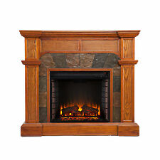 MFP58029 DARK OAK CONVERTIBLE FAUXED SLATE FRONT ELECTRIC FIREPLACE WITH REMOTEI