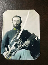 Civil War Military  UNION SOLDIER with Saber Sword and Pistol TinType C854NP