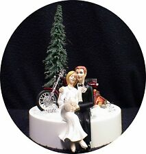 Working Camp Fire Wedding Cake Topper w/ Harley Davidson Motorcycle groom top