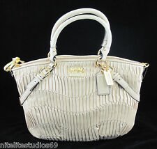 COACH MADISON SOPHIA Bone Gathered Leather PURSE 15942 NEW MFSRP $598