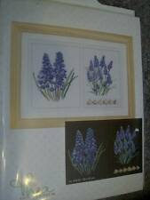 Thea Gouverneur Muscari Blue Flowers Cross Stitch Kit #443 Black Fabric 13x9 Inc