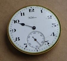 Waltham pocket watch movement for repair, 41.5 mm, Bond St, loose balance.