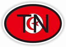 TUNISIA AFRICAN COUNTRY CODE OVAL FLAG STICKER bumper decal car bike tablet