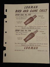 Vntg Original 1951 LOHMAN Bird Game Duck Crow Squirrel Calls Dealer Sales Sheet