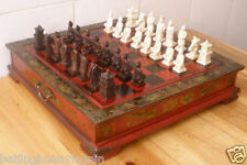 Collectibles Vintage 32 Pieces chess set with wooden Coffee table