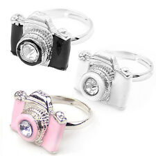 Fashion Exquisite Girls Adjustable Rhinestone Camera Retro Rings White