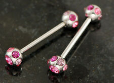 "Pair 316L Surgical Steel 14g 3/4"" 7 Gem Pink, Purple C.Z. Nipple Rings Barbells"
