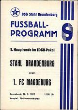 Comedores-trofeo 82/83 ZEPA acero Brandeburgo - 1. fc Magdeburg, 18.09.1982