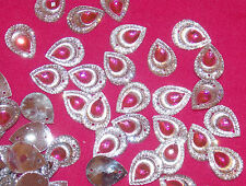 10x 18mm sew on stich on JEWEL GEM CRYSTAL RHINESTONE pink & clear peacock DANCE