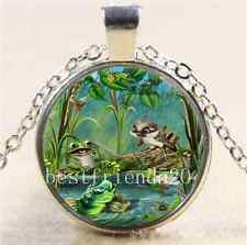 Frog Bird Fish Photo Glass Cabochon Tibet Silver Chain Pendant Necklace