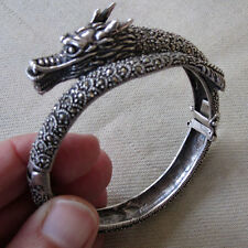 SUPERB CRAFTED STERLING SILVER DRAGON BRACELET SPARKLES LIKE MIRRORS INDIA