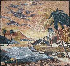 "40"" Handmade Sand Mountains scene with palm Tree Mosaic Marble Art Tile Stone"