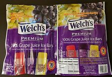 2 Packs Welch's Premium 100% Juice Ice Bars 16-2 OZ Bars Grape, Tropical, Cherry