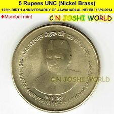 125th BIRTH ANNIVERSARUY OF JAWAHARLAL NEHRU 1889-2014 Ni-Brass Rs 5 UNC #1 Coin