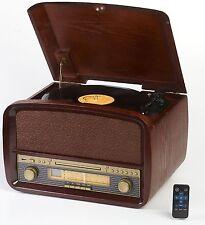 NOSTALGIE MUSIKCENTER SCHALLPLATTENSPIELER RETRO CD MP3 USB RADIO MUSIKANLAGE