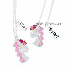 SPARKLING BEST FRIENDS BFF UNICORN NECKLACE PENDANT 2 IN 1 SET GIRLS XMAS GIFT