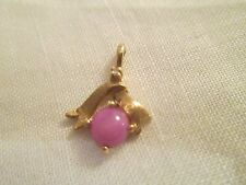 Vintage 14K yellow gold Pink Linde Star Sapphire w diamond accent pendant