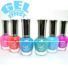 KLEANCOLOR 6 GEL EFFECT NAIL POLISH NEON SET PINK BLUE FUSCHIA LACQUER K-GSET03