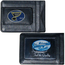 St Louis Blues Fine Leather Money Clip ID Card Cash Holder Wallet NHL Licensed
