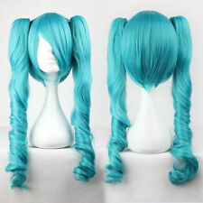 Vocaloid Hatsune Miku Two Tone Curly Ponytails blue green Full Cosplay party Wig