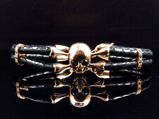 """Mens Rose Gold Finish Simulated Lab Diamond Skull Leather Band Bracelet In 8"""""""