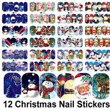 12 Sheets Christmas Water Transfer Nail Art DIY Decoration Stickers Decals Xmas