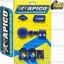 Apico Bling Pack Blue Blocks Caps Plugs Clamp Cover For Yamaha YZ 450F 2010-2013
