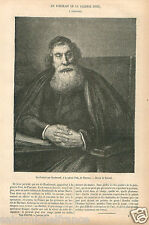 Portrait of Man Rembrandt Palazzo Pitti Firenze Florence GRAVURE OLD PRINT 1870