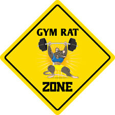 "*Aluminum* Gym Rat Zone Funny Metal Novelty Sign 12""x12"""