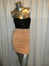 2Tone Black/Brown Lace Up Padded Bust Club/Casual Ruched Side Mini Dress  8-10