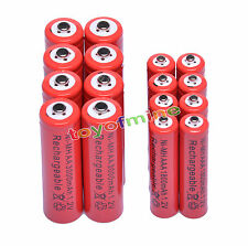 8 AA 3000mAh + 8 AAA 1800mAh 1.2V NI-MH Rechargeable Battery 2A 3A Red Cell