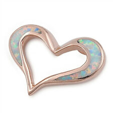 Heart Pendant with White Lab Opal Sterling Silver 925 Rose Gold Plated Jewelry