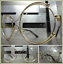 Women's VINTAGE RETRO Style Clear Lens EYE GLASSES Double Round Gold Metal Frame
