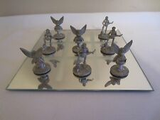 Fairy Princess & Minstrel Boy & Lute Pewter Tic Tac Toe with Mirror Game Board