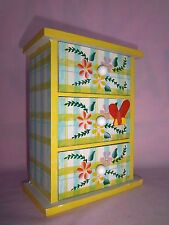 Jewelry Box Trinket Wood Organizer Chest of Drawers Bright Yellow Floral Plaid