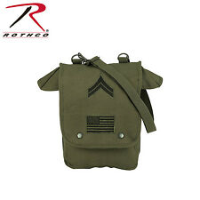 8796 Rothco Canvas Map Case Shoulder Bag w/ Military Patches - Olive Drab