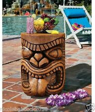 HAWAIIAN TIKI TOTEM POLE SCULTPURAL TABLE TROPICAL LUAU BEACH PATIO DECOR