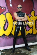 Sexy Sleeveless Tight Rubber Latex Catsuit with Button Snap Codpiece